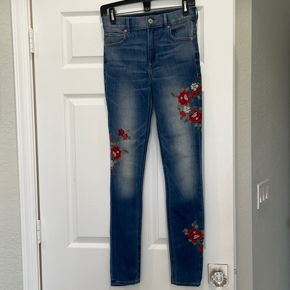 Express floral embroidered skinny Jean